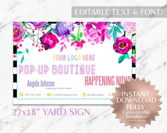 Instant Customizable Floral Striped Fashion Consultant and LLR Pop-Up Boutique Yard Sign TEMPLATE