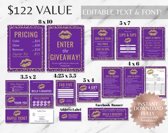 Purple Gold Glitter LipSense Business Bundle LipSense LipSense Business Cards SeneGence LipSense Distributor Marketing Ultimate Party Kit