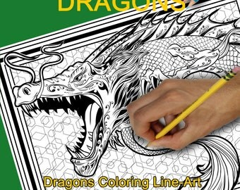 Coloriage calendrier 2018; Dragons