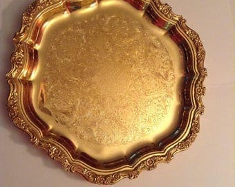vintage International Silver Company 23k electroplated platter/serving tray