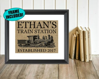 Personalized Train Station Sign - Framed Burlap Print - Train Print - Train Nursery Decor - Train Nursery - Vintage Train - Train Decor
