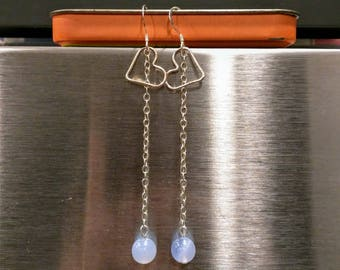 Sterling Silver & Blue Chalcedony Heart Dangle Earrings