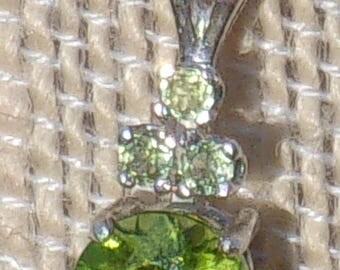 Triple Accented Peridot Sterling Silver Pendant