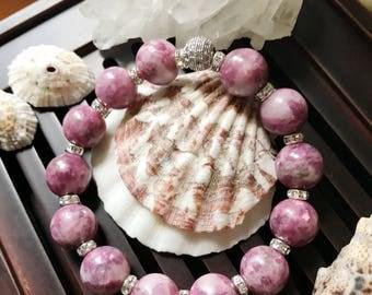 12mm Lepidolite Yoga Mala Beaded Bracelet. Healing Natural Gemstone Bracelet. Wrist Mala. Stretch Bracelet.