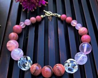 Rhodochrosite / Rhodonite / Rose Quartz /Rock Crystal Clear Quartz / Sterling Silver Bracelet. Healing Natural Gemstone Beaded Bracelet.