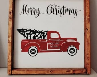 Red Christmas Truck Sign, Christmas Tree Truck Sign, Vintage Red Truck Sign, Mantel Decor, Christmas Decor, Holiday Sign, Farmhouse Decor