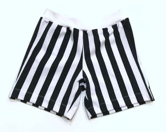 Shorts//Organic Cotton//Stripes//Kids Clothing//Organic Kids Clothing//Black and White Stripes