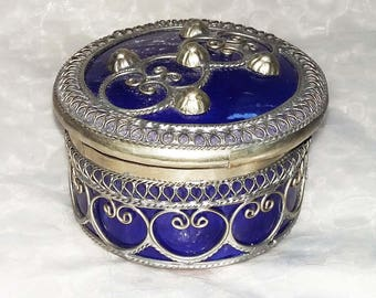 Round blue ceramic trinket box from India with attractive silver filigree detailing