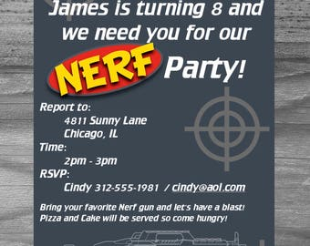 Dart War Birthday Party Invitation Custom Made for you!  Superfast turnaround and high quality.