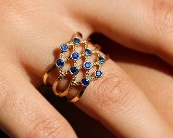 Sapphire Ring, September Birthstone, Multi Gemstone, 14K Gold Ring, 2mm Blue Faceted Stones, Engagement/Anniversary Gift Wife, Fine Jewelry
