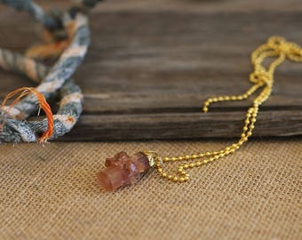 Aragonite necklace on a ball chain
