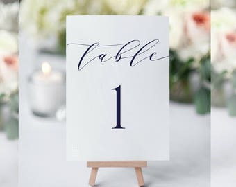 Navy Table Numbers, Navy Wedding Table Numbers, Table Numbers for Wedding, Wedding Signs,Printable,Table Numbers Template,Navy Wedding Decor