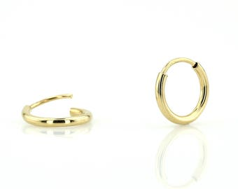 12mm Solid 14k Gold Hoop Earrings/ Gold Hoop Earrings/ 14k Gold Earrings/ Gold Hoop Earrings/ Small Gold Hoops Earrings/ Tiny Gold Hoops