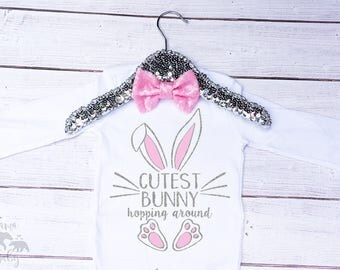 Baby Girls Cutest Bunny Hopping Around Onesie, Easter Outfit, Easter Shirt, Toddler Easter Shirt, My First Easter, Bunny Shirt