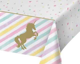Pastel and Gold Unicorn Sparkle Party Tablecover/ Unicorn Party Tablecover/ Pastel Unicorn Party