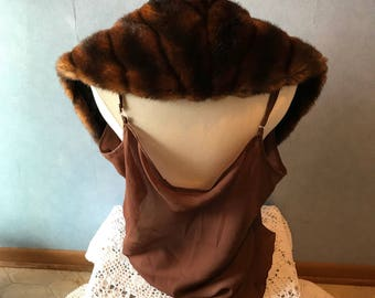 Brown Faux Fur Collar, Looks Real, Great for Replacement or Upcycling Winter Coat