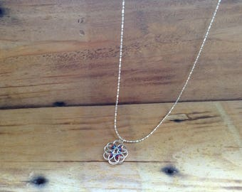 Flower Helm Chainmaille Pendant Necklace