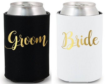 Bride & Groom Drink Coolers Party Favors Black White Gold Foil Bottle Can Holders