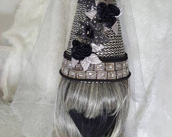 Damsel in Distress Silver & Black Satin Rose and Sunflowers Ladies Fantasy Medieval Style Princes Wimple Hat