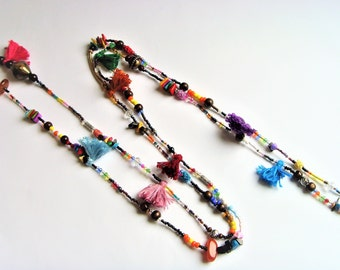 Long colorful necklace beads and tassels.