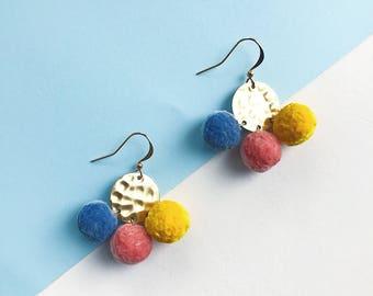 Pom Pom Earrings Pink Blue Yellow Earrings pom-poms Geometric Pompom Earrings Statement Earrings Statement Jewelry Pastel Earrings