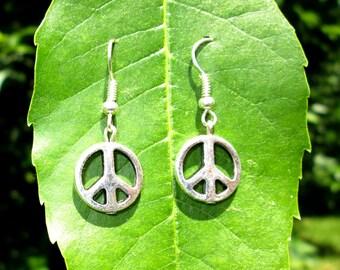 Peace Sign Earrings - Sterling Silver Earrings - Hippie Jewelry - Dangle Earrings - Silver Dangle Earrings - Silver Drop Earrings