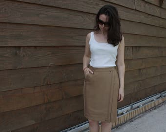 ginger brown woolen wrap pencil skirt with pocket