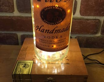 Tito's Handmade Vodka Cigar Box Lamp, gift for him or her, Texas Vodka, LED Lights, Accent Lamp, Table Lamp, secret storage