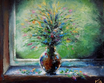 original oil painting  flowers still life modern art bouquet flowers in a vase