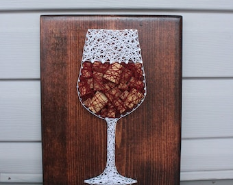 Wine String Art Wall Sign-Cork Craft Decor-Wine Lover Gift for Her-String and Nail Art-Adult Wall Decor