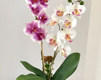 Silk Floral Arrangement with White and Purple Silk Orchids, in a Turquiose Art Deco Vase