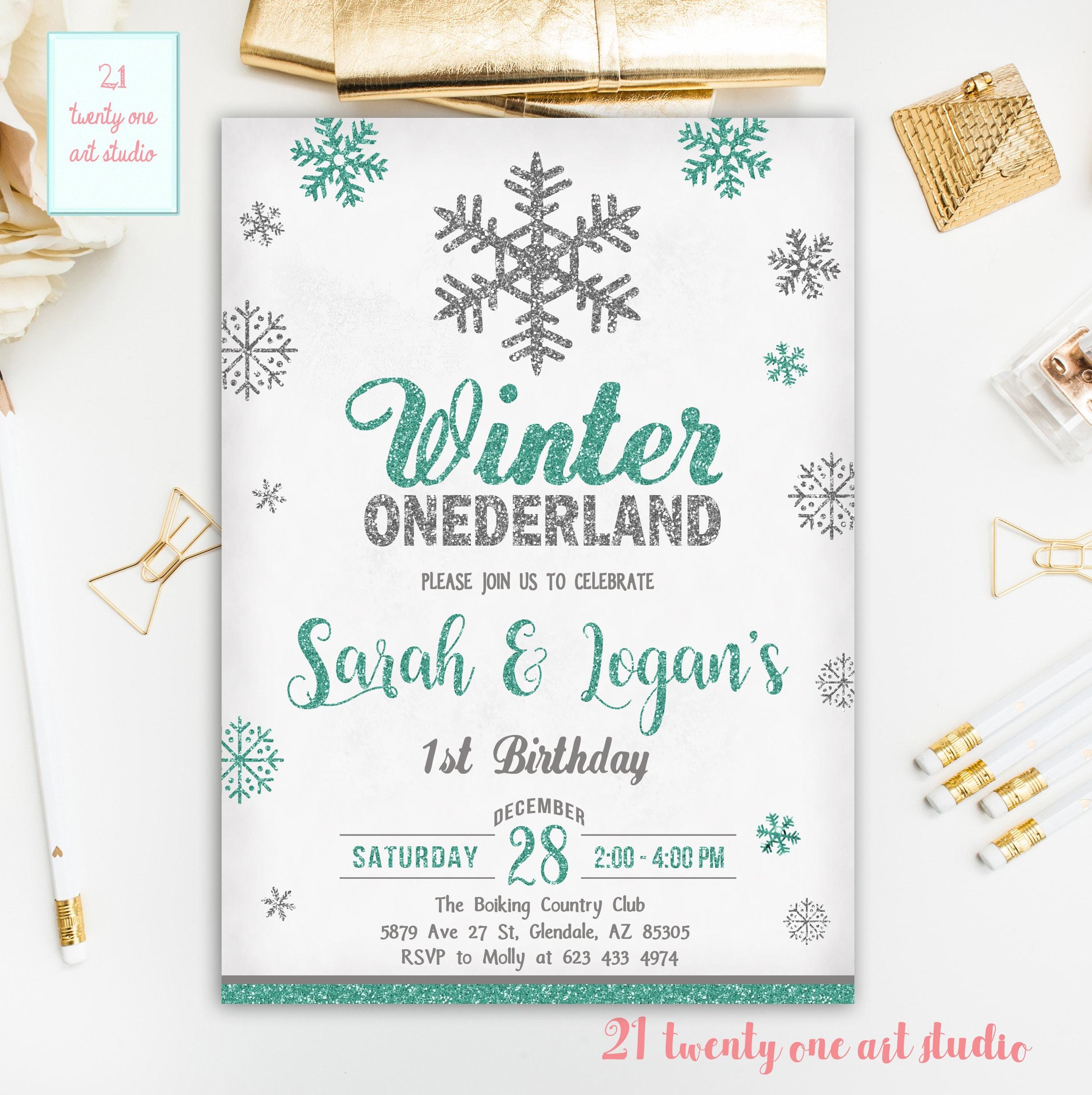 Winter Birthday Invitation Winter Onederland First Birthday