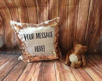 Mermaid Cushion, Your Message Here Custom Mermaid Cushion, Reversible Mermaid Sequin Cushion Cover, Personalised Sequin Cushion, Rude Gift