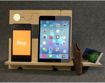 gift christmas desk organizer iphone 8 docking station iphone docking charging station wood docking station ipad - Iphone Charging Station