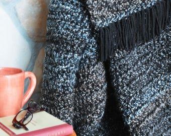 Black crochet blanket/throw/afghan; Multicolor crochet blanket; Large crochet blanket