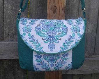 Teal Linen, Floral Cotton Manhattan Momma Crossbody Bag, Adjustable Strap