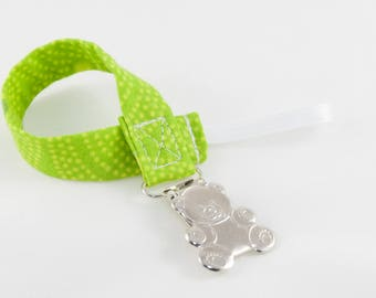 Pacifier Clip - Light Green Dots Universal Clip for Baby Pacifier/Binky/Soothie