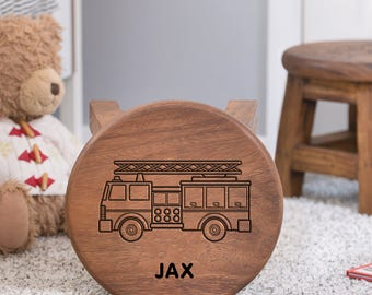 Fire Engine Personalised Wooden Stool, Wooden Name Stool, Fireman Stool, Kids Stool, Child's Stool, Wooden Fireman Stool, Christening Gift
