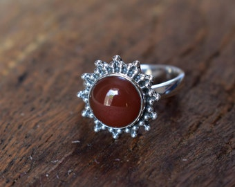 size-7us red onyx ring,92.5 silver ring,simple ring,onyx ring