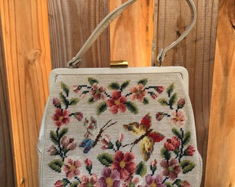 1960s Needlepoint and Leather Purse // Needle point handbag // Butterfly purse // leather purse // vintage purse // 1960s purse