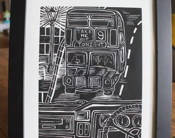 "The Smiths ""There Is a Light That Never Goes Out"" 8x10 Linocut Print"