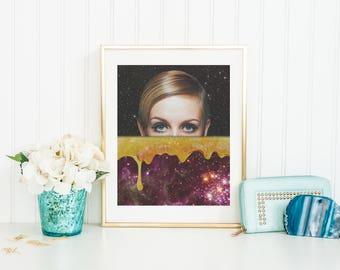 Twiggy Print, Twiggy Wall Art, Twiggy Poster, Honey Print, Honey Wall Art, Honey Poster, Space Print, Space Wall Art, Space Poster, Star Art