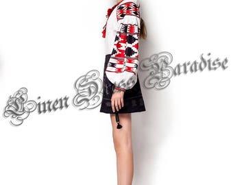 Ukrainian Embroidered Tunic Blouse Shirt Boho Style Chic Nationale Folk Nouveau Fashionable Embroidery Ukrainian Vyshyvanka Bohemian Shirt