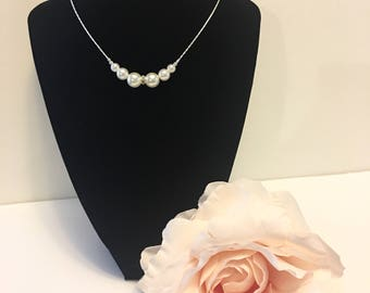 Maid of Honor Gift, Pearl Bead Necklace, Bridal Necklace, Pearl Necklace, Crystal Necklace, Crystal Clear Pendant, Bridesmaids Gift