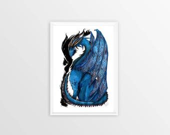 Blue Dragon Ink Drawing Print Fantasy Art