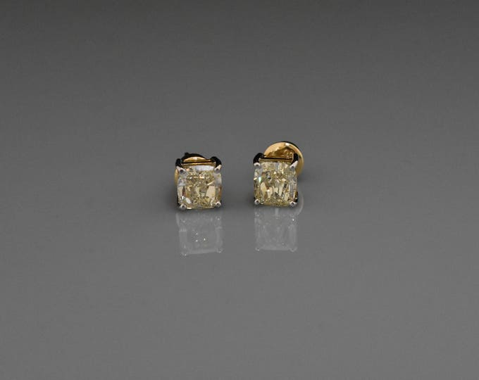 18K Gold Fancy Yellow Diamond Stud Earrings   Canary Diamond   Handmade Fine Jewelry   Anniversary Gift   Birthday Gift   Gifts for Her