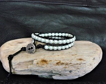 Soft Green Pearl Beaded Leather Wrap Bracelet~Harley Davidson~Chan Luu~Inspired