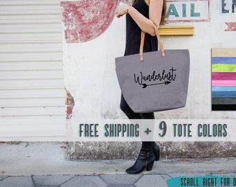 Womens Satchel Wanderlust Travel Weekender Bag, Wander Bag, Wander Tote, Womens Travel Bag Overnight, Travel Lovers Gift, Jute Carry On Bag