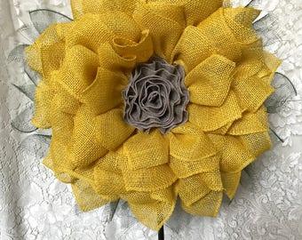 Burlap Sunflower Wreath, Free Shipping, Fall Wreath, Sunflower Burlap Wreath, Front Door Decor, Home Decor, Sunflower