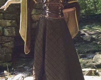Medieval Brown and Gold Dress